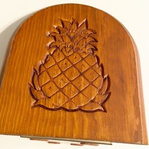 Vintage Wood Bookend with Carved Pineapple